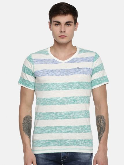 100% Cotton Slub  Reverse Stripes Printed  V-Neck