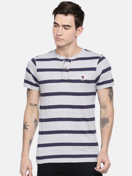 100% Cotton Stripes Polo Henley Neck