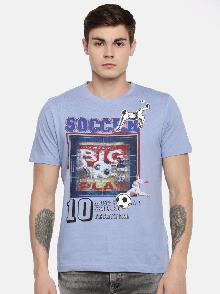 100% Cotton Sports Fashion Print Round Neck