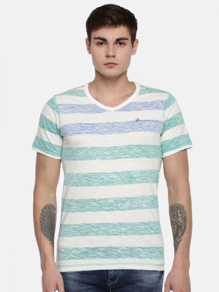 100% Cotton Slub  Reverse Stripes Printed  V-Neck