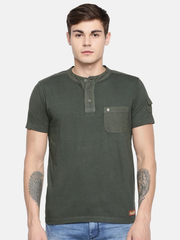 100% Cotton Fashion Henley Neck With Pocket