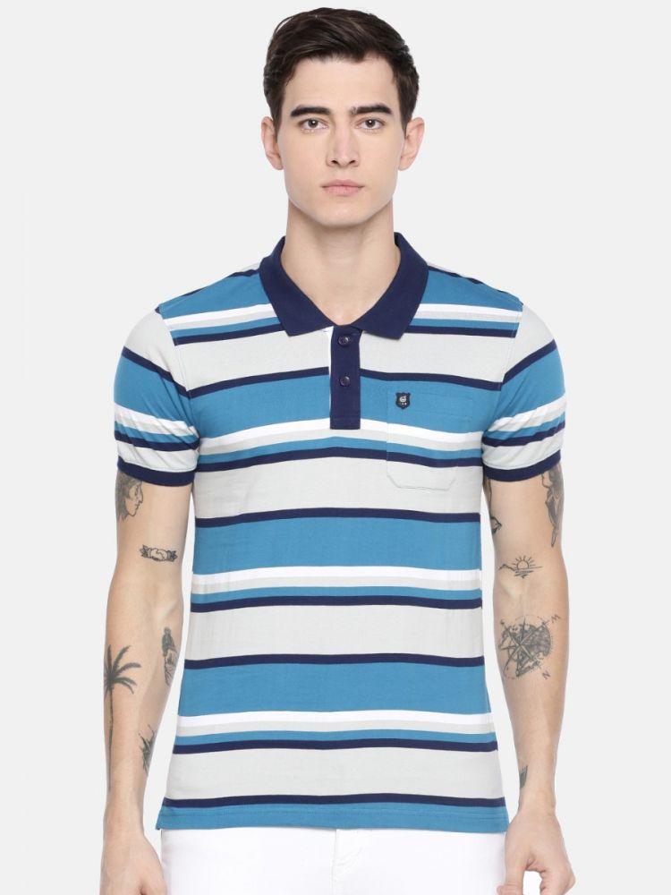100% Cotton Premium Stripes Polo With Pocket